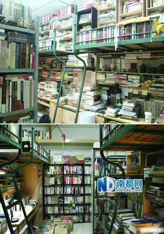 复旦学生陈天翔的私人图书馆.-学霸在宿舍建图书馆 每月买书钱可买